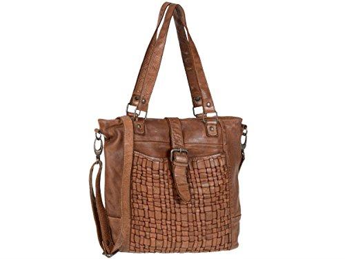 Bear Design Beuteltasche Damen Leder Handtasche Shopper mit Schultergurt Front geflochten cognac