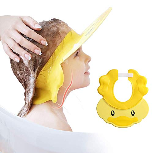Baby Shower Cap Visor with Ear Protection for Bathing Washing Hair, Adjustable Comfortable Soft Safe Waterproof, for Girls, Boys, Infants, Children, Kids and Toddlers (Litter Yellow Duck)