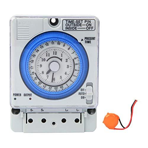 Mechanischer Zeitschaltuhr, AC220V 10A 15 Minuten 24 Stunden Manuelles/automatisches Zeitschaltrelais für Licht und Ausrüstung