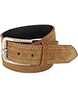 XeeBest Men Suede Genuine Leather Casual Stitched Light Brown Belt with buckle