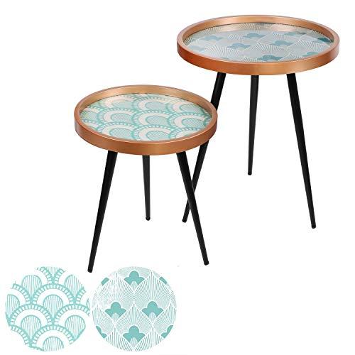 Urban living - Juego de 2 mesas auxiliares, diseño de arte, color azul y blanco