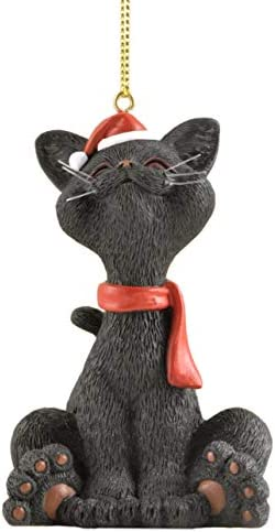 JFSM INC Whimsical Black Cat Christmas Ornament Figurine Holiday Collectible Happy Cat Collection product image