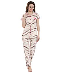 Kayimi Womens Cotton Printed Front Open Flannel Night Suit