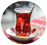 Juego turco de té Topkapi de 18 piezas Sara-Sultan, 6 vasos de té, 6 posavasos, 6 cucharillas de té, juego completo