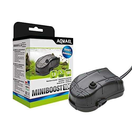 Aquael Minibost 100 Belüftungsgerät, 100 l/h, regulierbare Luftpumpe, für Süßwasser- und Meerwasseraquarien