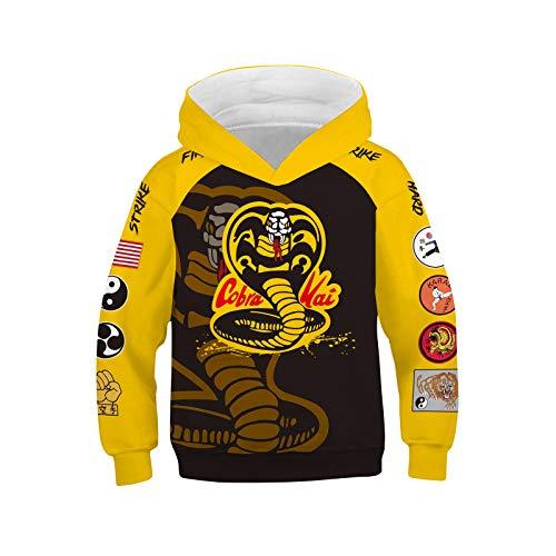 IDEALcos Kinder Cobra Hoodie Faust gedruckt Sweatshirt Karate Cosplay Kai Kostüm für Halloween Party (Farbe1, 4T-5T)