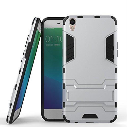 ZHIWEI Das tragbare Handy Tasche Für Oppo R9 Plus Standhalter-Handygehäuse, robuste Kickstand-Rückseite, Schutzhülle (Color : Silver)