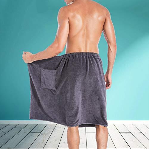 zsbdb5edvq Men Wrap Towel, 70140cm Soft Microfiber Durable Bathrobe Blanket, Super Absorbent Breathable Pockets, Bathroom Beach SPA Pools Gyms College Dorm Locker Room Gift, Bath Swim Shower Gray