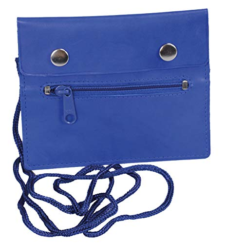 LEAS Brustbeutel Echt-Leder, blau Travel-Line