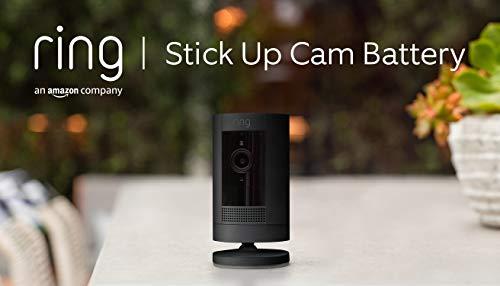 Ring Stick Up Cam Battery di Amazon, videocamera di sicurezza in HD con sistema di comunicazione bidirezionale, compatibile con Alexa | Colore nero