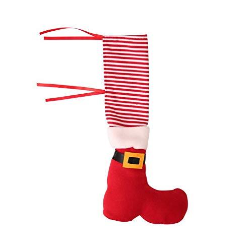 BSbattle 4 unids/set silla cubierta protectora de Navidad restaurante hogar adornos silla pie cubierta decoración hogar suministros - rojo
