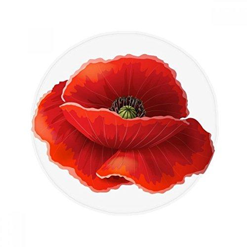 DIYthinker Fleur Rouge Peinture Corn Poppy Art antidérapant Tapis de Pet de sol rond de salle de bain salon Porte de cuisine 80 cm Cadeau