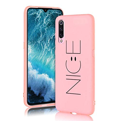 ZhuoFan Xiaomi Mi 9 Case, Phone Cases Pink Liquid Silicone with Pattern Shockproof Soft Flexible Gel TPU Rubber Back Cover Bumper Skin for Xiaomi Mi9 2019 Smartphone, Nice