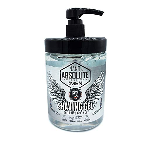 NANO ABSOLUTE Transparentes Rasiergel Herren Shaving Gel 1000ml Dosierpumpe Barber Gel schäumt nicht,für eine präzise Rasur der Bartkonturen Gesicht und Körper Nassrasur Friseurbedarf
