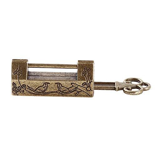 Kast nieuwe ruwe kast + sleutel vintage antiek ijzer oud slot retro messing hangslot sieraden houten kist hangslot slot slot voor koffer bronskleurig