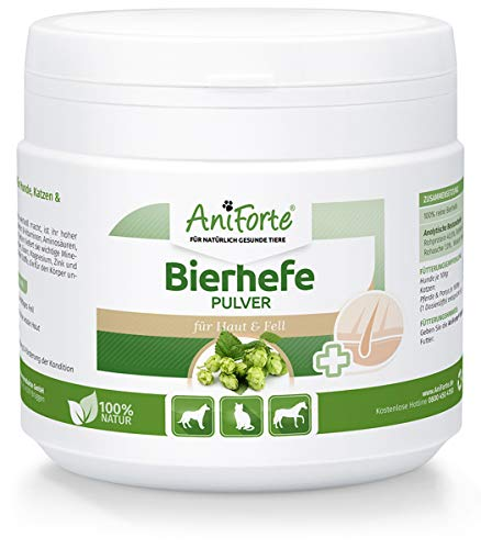 AniForte Reine Bierhefe Pulver 250g - Naturprodukt für Hunde, Katzen und Pferde, Glänzendes und kräftiges Fell, Vitale Haut, Reich an B-Vitaminen, Mineralien, Spurenelementen