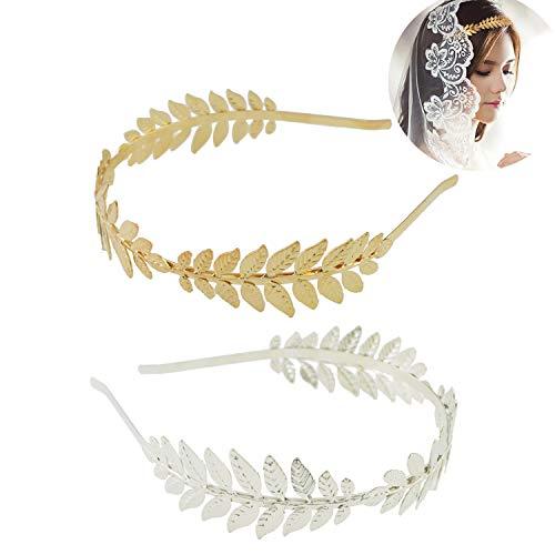 Stirnbänder,Damen Stirnband,Brautblatt Stirnband,Fashion Leaf Headband,Beliebte Legierung Haarband,Haarschmuck für Mädchen Und Damen,Perfekte Geschenk für Freundin (Gold,Silber,2 Stücke)
