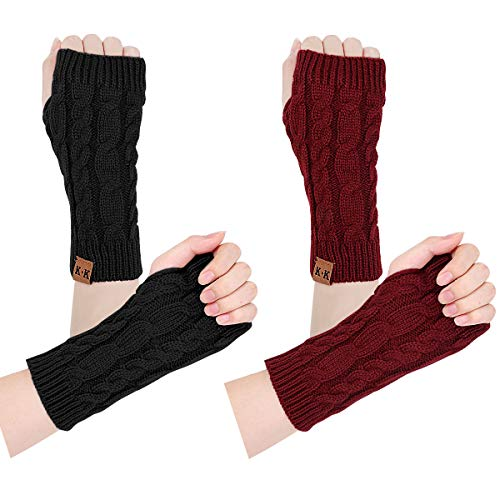 Women Arm Warmers- Winter Warm fingerless gloves knit hand warmers Crochet Thumb hole wrist warmers mittens (black+red)