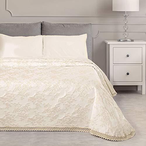 GLShabby Tagesdecke aus Baumwolle Bettüberwurf Jacquard, Decke Bett mit Spitzenbordüre, Tagesdecke Doppelte für 2 Personen Landhaus Shabby Chic - Blumen/Spitze - 260x260 - Natürliche