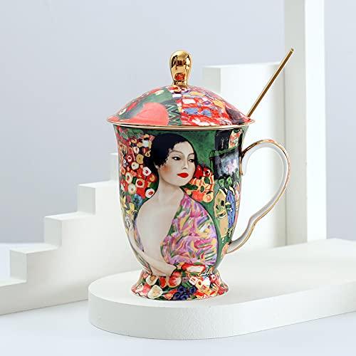 jjh Taza de café con tapa y cuchara de porcelana de hueso con pintura antient Klimt tazas de té con tapa, regalo de lujo (capacidad: 400 600 ml, color: geisha)
