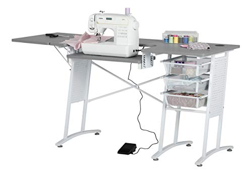 """Sew Ready 13384 Master Sewing Machine Table with 3-Wire Mesh Drawers and Drop Leaf Side Shelf, Craft and Computer Desk, Powder Coated Steel Frame in White with 47.25"""" W Dark Grey Top"""