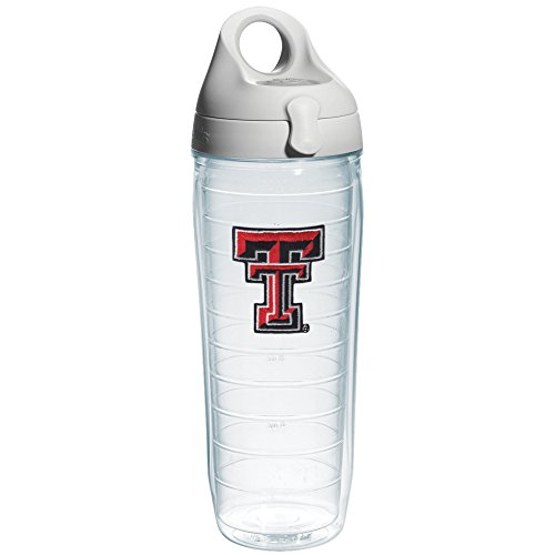 Tervis Texas Tech University Emblem Individual Water Bottle with Gray Lid, 24 oz, Clear