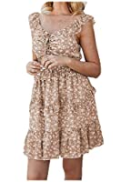 Nicellyer Women's Falbala Summer Tunic Flyaway Skinny Patterned Beachwear Dress Khaki XS