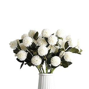 XIZHI Artificial Hydrangea Flowers Fake Silk Dandelion Flowers, Artificial Onion Flower Ball, 5 Packs of Artificial Chrysanthemum Ball DIY, Home Decoration Wedding Bouquet