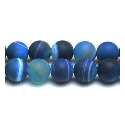 Strang 38+ Blau Matt Gebänderten Achat 10mm Rund Perlen GS17102-2 (Charming Beads)