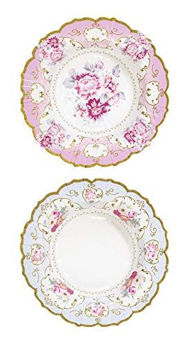 Talking Tables Truly Scrumptious; Kartonnen schaal met bloemenmotief in elegante vintage-stijl voor theekrans, bruiloften en verjaardagsfeestjes, 2 ontwerpen, roze en blauw (12 per verpakking)