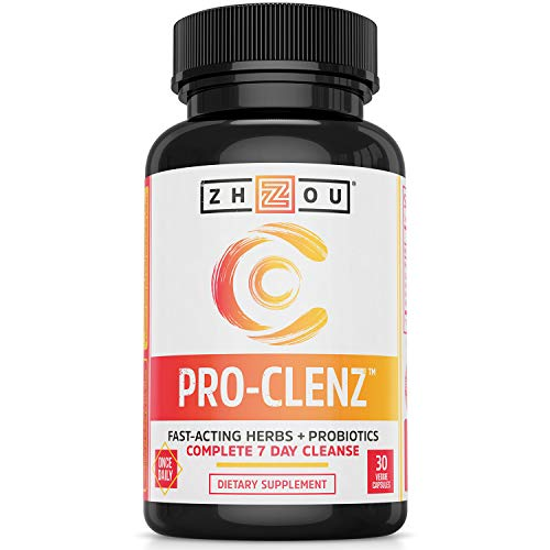 Zhou Nutrition Pro-clenz 7 Day Colon Cleanse Detox with Probiotics - Healthy Weight, Regularity & Digestion Formula - with Senna, Cascara Sagrada & Bacillus Coagulans - 30 Capsules