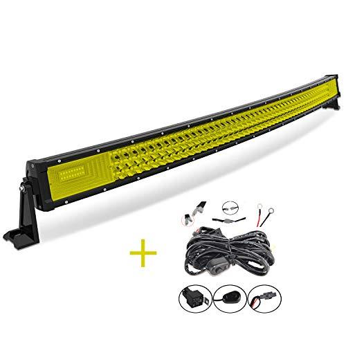 AUXTINGS 42 pulgadas 540W Curvo triple fila 7D ámbar amarillo LED barra de luz...