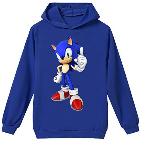 Silver Basic Tamaño Unisex para Niños Sonic The Hedgehog Sudadera con Capucha Sudadera Sonic Adventure Cosplay Sonic Ropa para Niños y Niñas Adolescentes 130,Azul Traje de Sonic-4