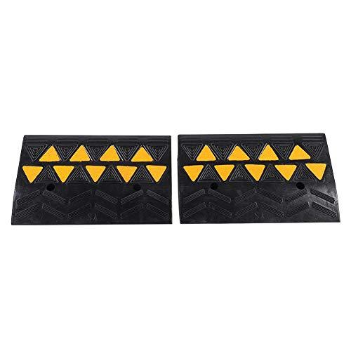 SOULONG 2X Bordsteinrampe Auffahrrampe Gummi Rampe 10.8cm Hoch Auto Rollstuhl Hilfe Schwarz + Gelb, 48,8 × 10,8 × 30 cm