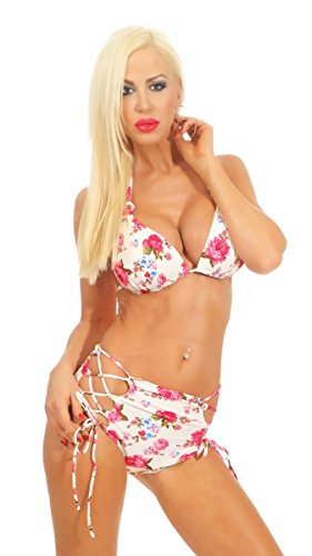 Fashion4Young 4366 Dames Bikini Set 2-delig Neckholder Badpak Vintage High-Waist Swimmwear Badmode Beachwear