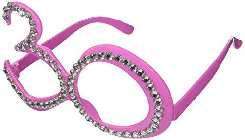 Folat 00748 - Brille mit Diamanten - rosa - Zahl 30