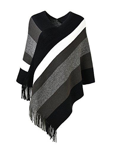 Ferand Damska elegancka dzianinowa ponczo ze wzorem w paski i frędzlami, czarny i szary,