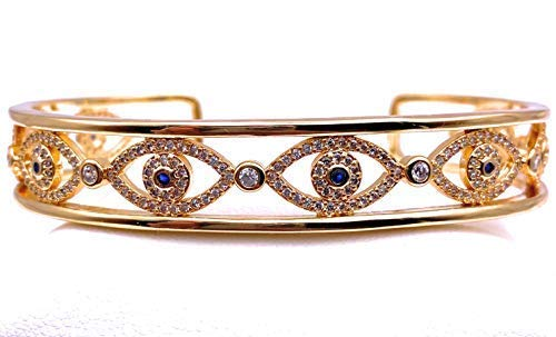 18K Gold Plated Evil Eye Cuff Bracelet for Women Lucky & Protection Jewelry for Her