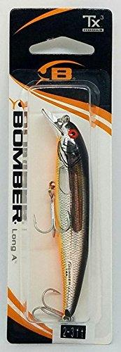 Bomber Long A Slender Minnow jerkbait (3.5in 3/8oz chrm/blk bk/org bly)