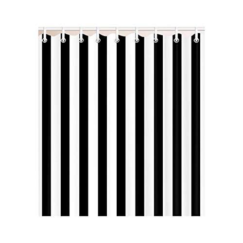 Duschvorhang-Set, wasserdicht, gestreift, Schwarz / Weiß