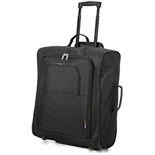 5 Cities Easyjet, British Airways, Jet2 56X45X25Cm Maximum Cabin Approved Trolley Bag Hand Luggage, 56 cm, 60.0 L, Black:Whiteox