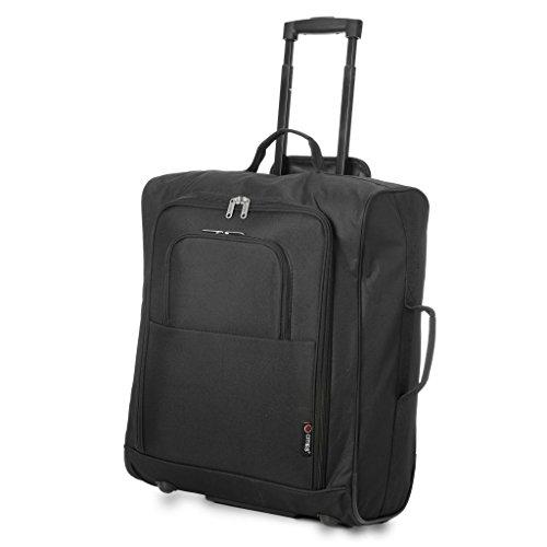5 Cities easyJet/British Airways / Jet2 56x45x25cm Maximum Carry On Cabin Approved Hand Luggage Trolley Bag 56x45x25, 60L, Black