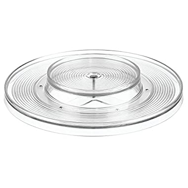 InterDesign Linus Lazy Susan Cabinet Turntable - 2-Tier Organizer Tray for Kitchen Pantry or Countertops - 11 , Clear