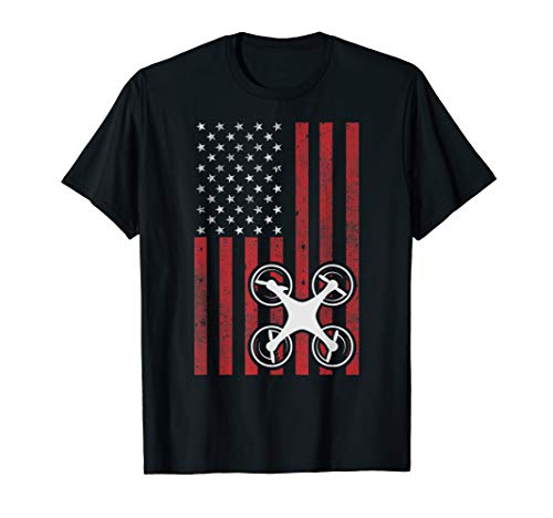 Drone Flag Patriotic Quadcopter UAS UAV Drone Pilot T-Shirt T-Shirt