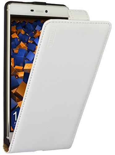 mumbi Echt Leder Flip Case kompatibel mit HTC One M9 Hülle Leder Tasche Case Wallet, weiss