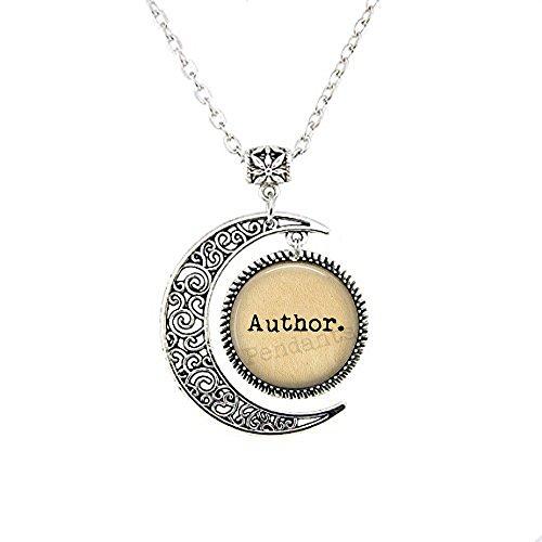nijiahx Author Moon Halskette – Geschenk für Schriftsteller – Schmuck zum Schreiben – Liebe zum Schreiben – Schriftsteller-Schmuck – Autor-Schmuck – Literatur-Schmuck