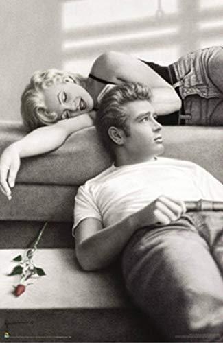HuGuan Póster Y Estampados 23.6'X35.4'(60X90Cm) James Dean Marilyn Monroe Lounging Vintage Decorativo Pared Lienzo...
