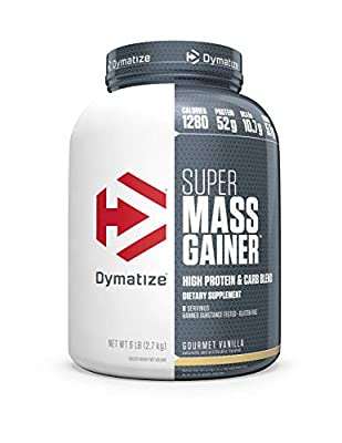 Dymatize Super Mass Gainer Protein Powder, 1280 Calories & 52g Protein, Gain Strength & Size Quickly, 10.7g BCAAs, Mixes Easily, Tastes Delicious, Gourmet Vanilla, 6 lbs, Gourmet Vanilla, 96.0 Ounce from Dymatize Nutrition
