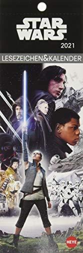 Star Wars Lesezeichen & Kalender 2021 mit Monatskalendarium - perforierte Kalenderblätter zum Heraustrennen - zum Aufstellen oder Aufhängen - Format 6 x 18 cm
