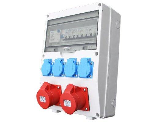 Wandverteiler CEE + 2x16A + 4x230V FI Stromverteiler Baustromverteiler Feuchtraumverteiler Komplett AWVT1